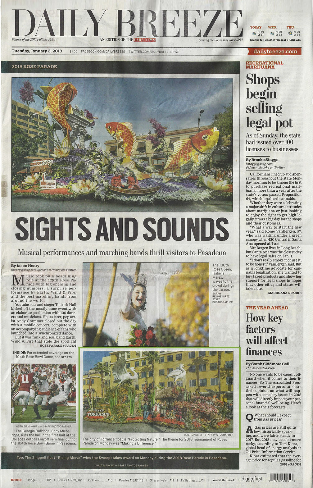 City of Torrance Rose Parade float with Madrona Marsh featured on front page of Daily Breeze